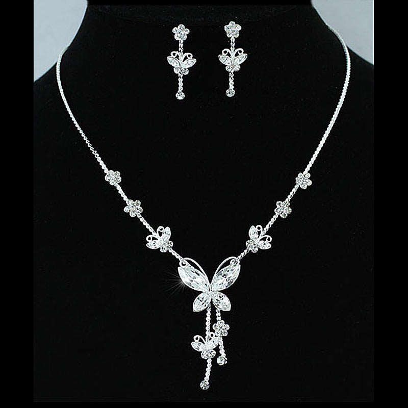 Bridal Wedding Party Quality Butterfly Rhinestone Necklace Earrings Set Bridesmaid Jewelry CS1077
