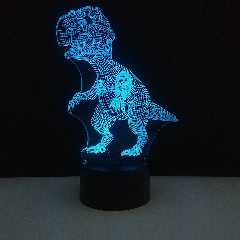 Dinosaur 3D Night Light Touch Table Desk Lamp 7 Colors Optical Illusion Touch Control Lights For Christmas Party Holiday Gifts