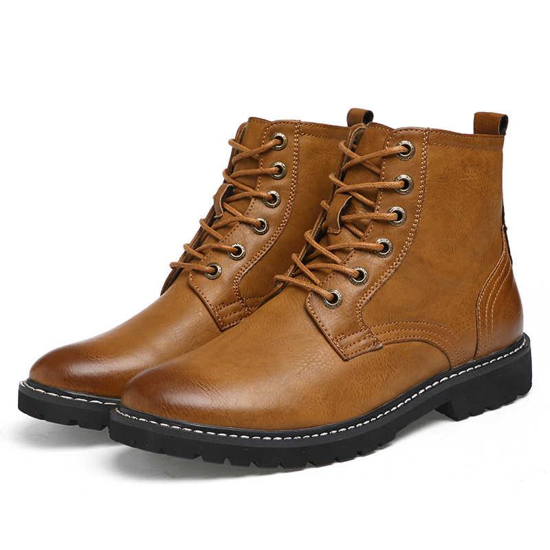 Erkek Botları Hakiki Deri Kış kar ayakkabıları Moda Erkekler Kış Çizmeler Sivri Burun Orta Buzağı Çizmeler Ayak Bileği Olmayan -kayma Çizmeler