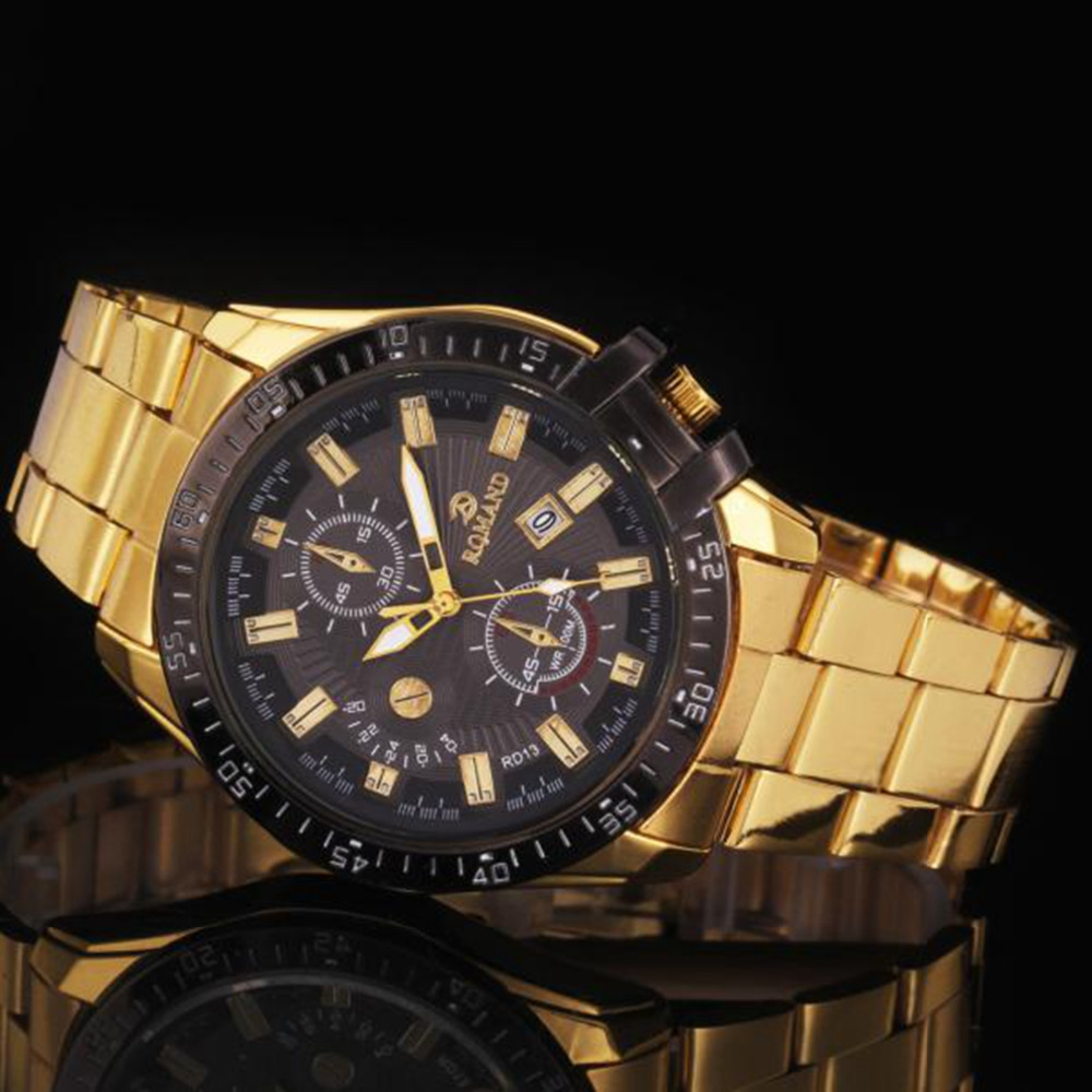 Luxury Watch Mens Black Dial Gold Stainless Steel Date Quartz Analog Sport Wrist Watch Super Quality Relogios Masculino #A