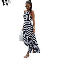 WYHHCJ 2017 Off Shoulder Strap Summer Dress Sleeveless Geometry Print Beach Women Dresses O Neck Long