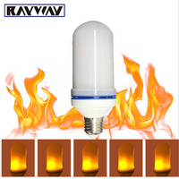 RAYWAY LED Flame Effect Light Bulb E27 7W LED Simulated Flickering Vintage Flame Lamps For Bar
