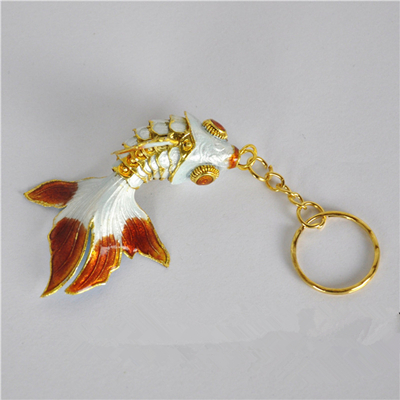 Маленький креативный эмалированный брелок с золотой рыбкой, брелок с рыбкой, китайский этнический перегородчатый ювелирный аксессуар, брелок, Подарочная подвеска-Шарм - Цвет: Белый