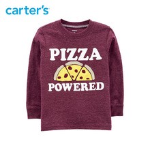 Carter's Pizza Powered Snow Yarn Textured Tee Autumn winter long sleeve boys t-shirt casual cotton kids clothes 243I012