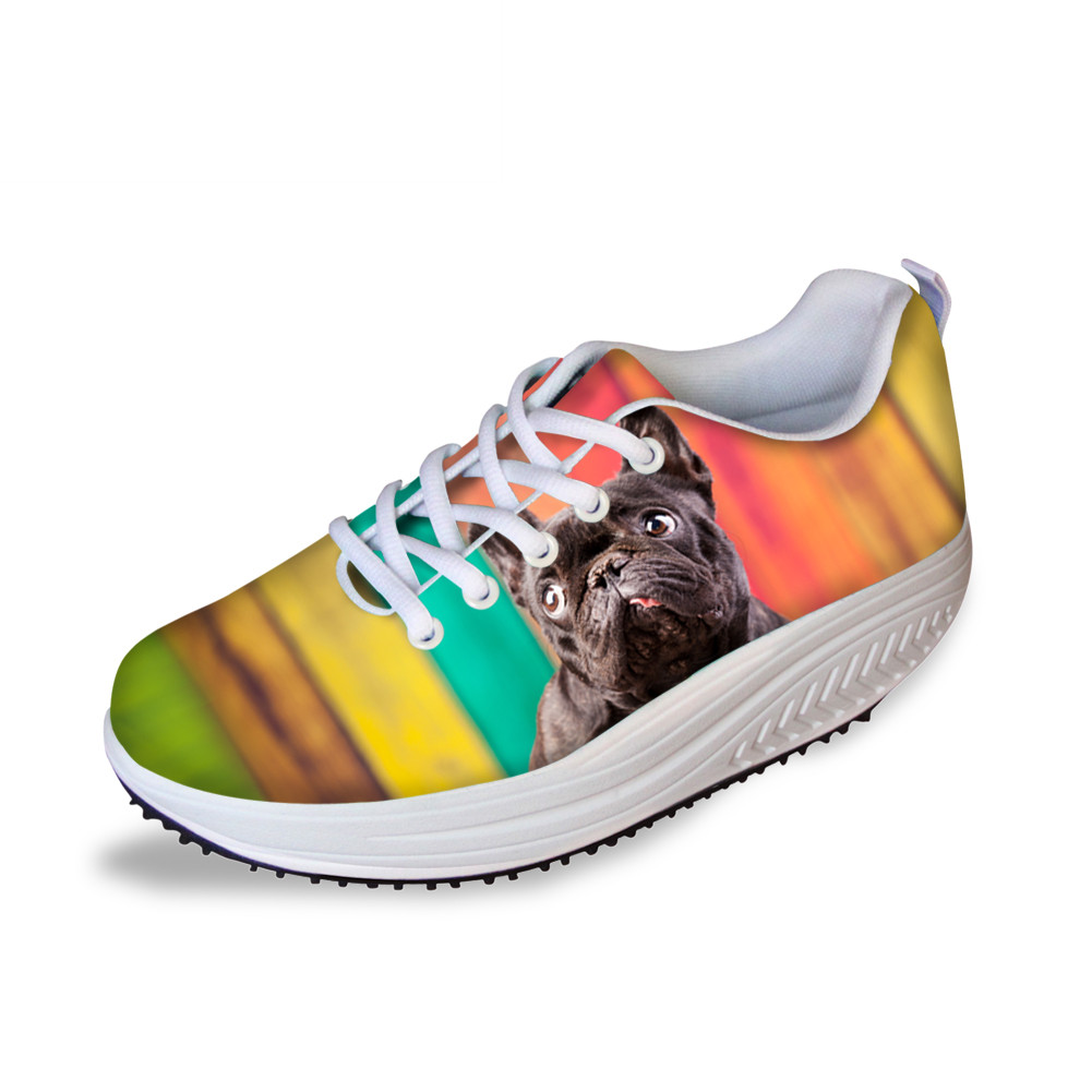 Rainbow Cute Bulldogs Women Flats Summer Breathable Platform Swing Shoes New Hollow Ultra-light Female Lazy Slimming Sneakers cute strawberry women platform shoes summer mesh body shaping slimming flats fitness lady swing shoes health nurse work sneakers