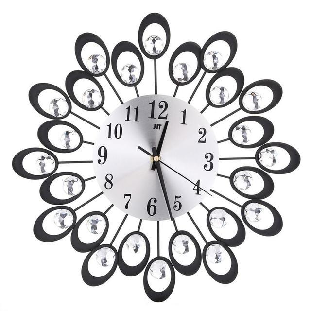 D3 3d Wall Clock Diamonds Non Ticking Silent Dazzling Metal Wall