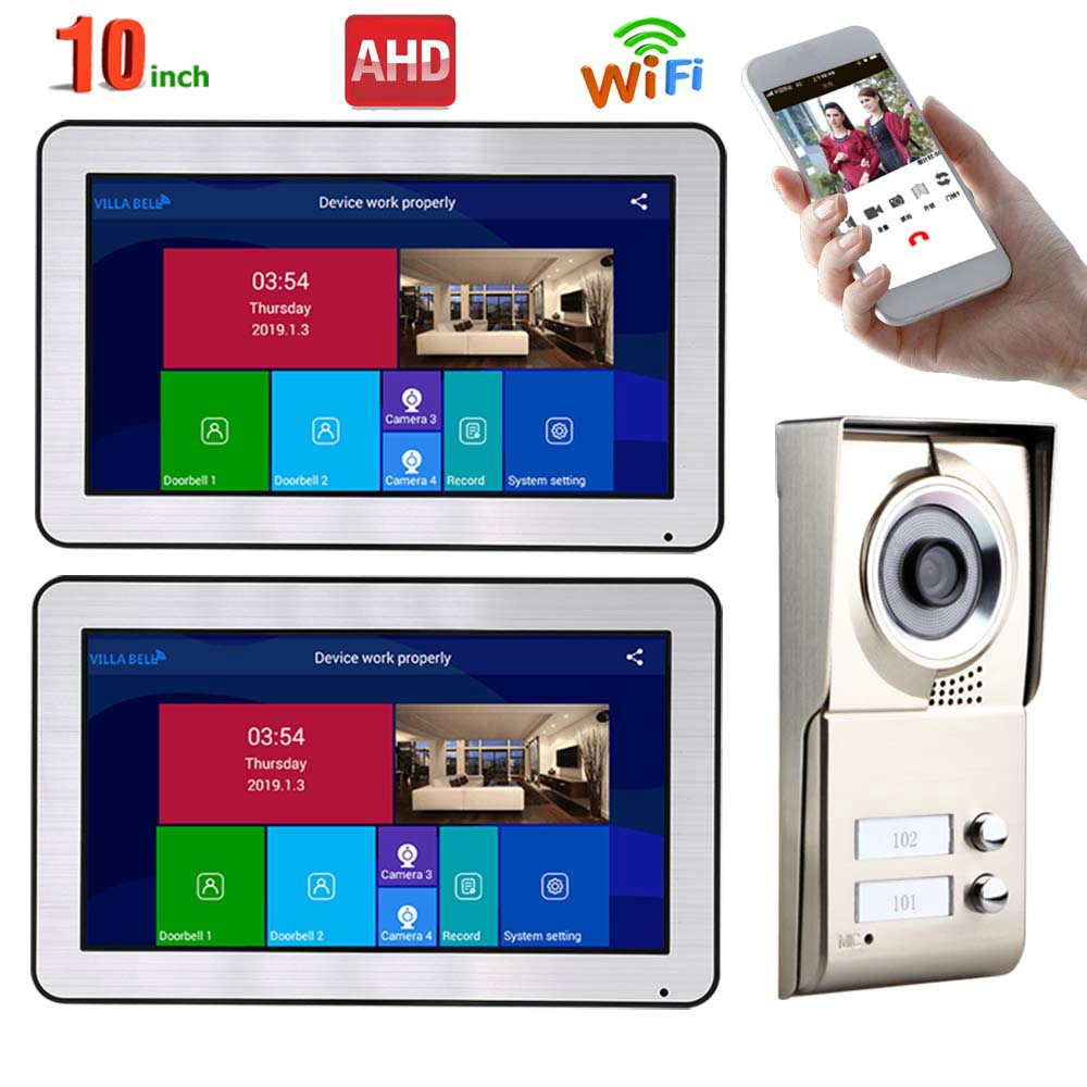 MOUNTAINONE Wired Video Intercom Systems 2 Apartments 10 Inch Wifi Video Door Phone System IR-CUT HD 720P Doorbell Camera