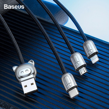 Baseus 3.5A 3 in 1 USB Cable For iPhone Xs Max Xr X Fast Cha