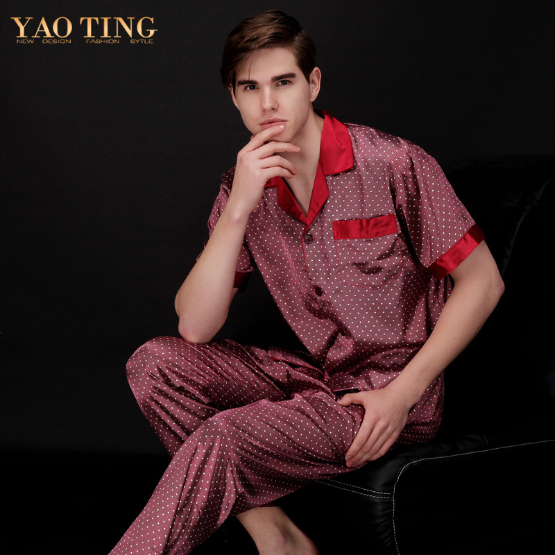 Men Silk Short Sleeve Long Pants Pajama Set Casual Loose Turn Down Dot Button Elastic Waist Home Wear