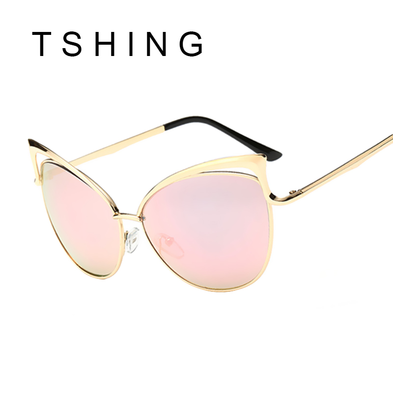 sexy lady cat eye sunglasses women metal big frame brand designer mirror cateye sun glasses vintage
