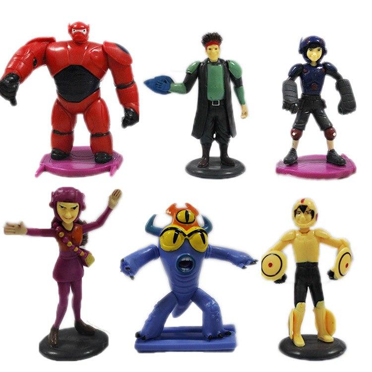 6pcs /set Big Hero 6 baymax  Robot Toys Transform Assemble Big Hero 6 Action Figure Robot  Dolls