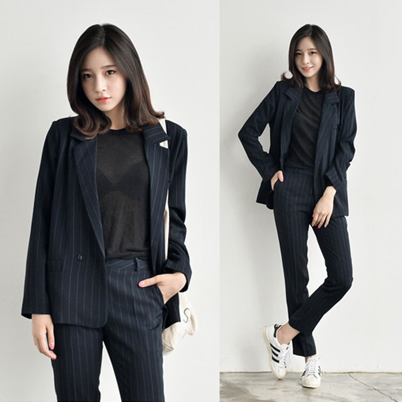 Womens suit 2018 New Style European Style Fashion Casual stripe Womens Set two-piece set Jacket + Pants