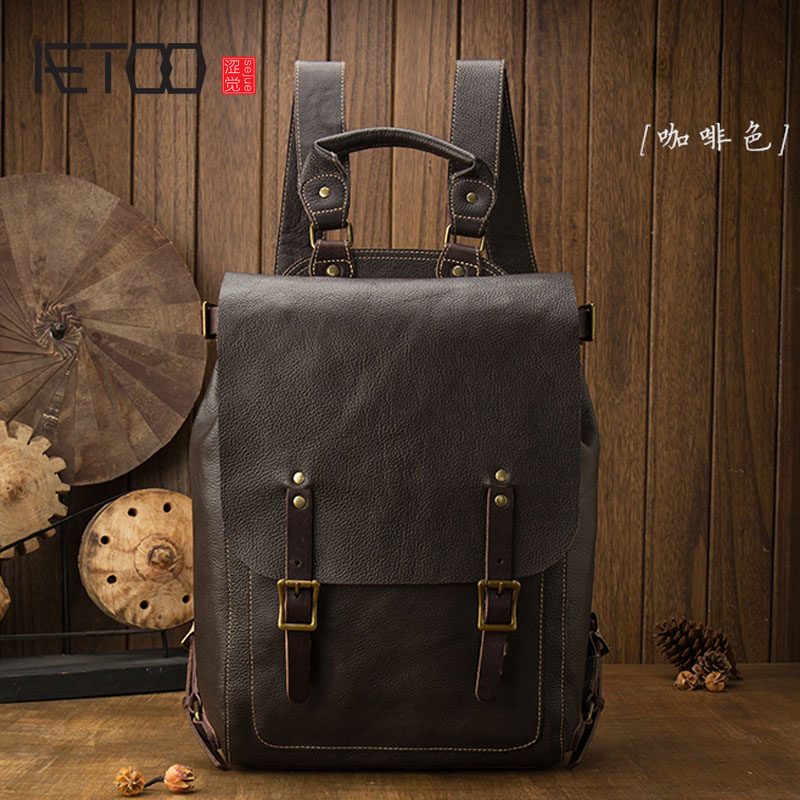 AETOO Original design shoulder bag male head layer cowhide youth backpack college wind personality travel computer bag aetoo leather shoulder bag head layer cowhide backpack retro art college wind bag leisure travel