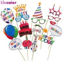 18 sztuk Photobooth dekoracje na przyjęcia urodzinowe dla dzieci 1st chłopiec dziewczyna materiały dla dorosłych balony Glassesn 2 3 4 5 6 7 8 9