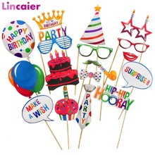 18pcs Photobooth Happy Birthday Party Decorations Kids 1st B