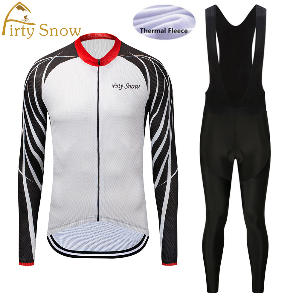 Firty Snow 2018 New arrival Winter Thermal Fleece mavic Cycling Jersey Long Sleeve Bib Pants Set Bike Bicycle Outdoor&Sports-025