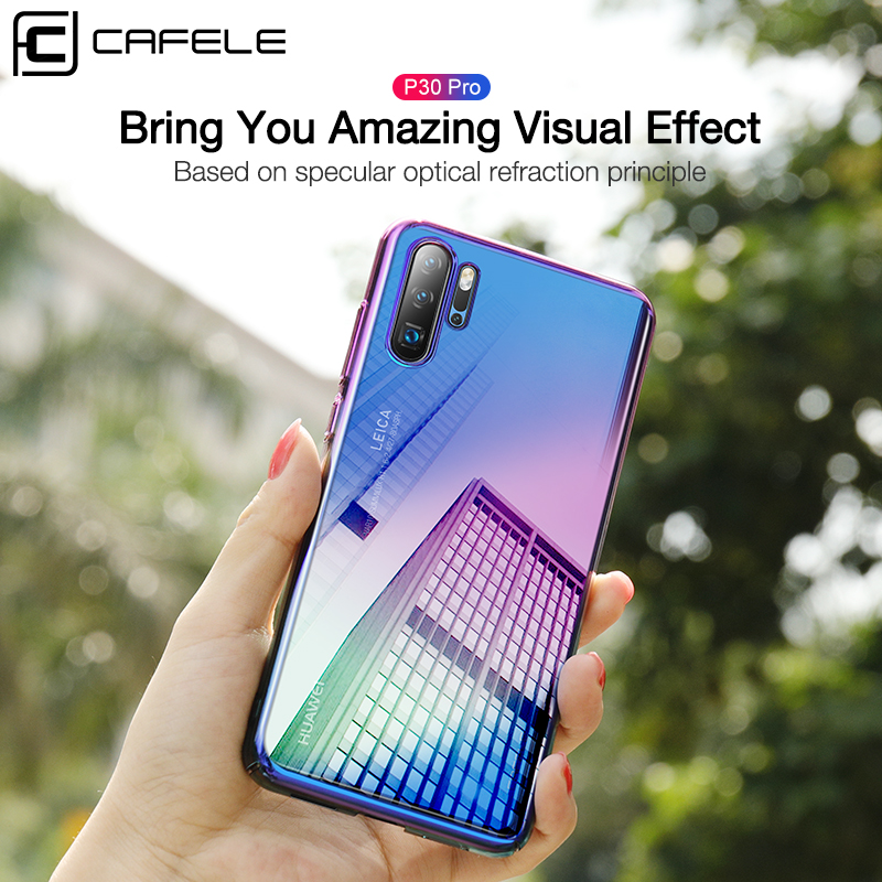CAFELE Case For huawei p30 p20 pro cases luxury Aurora Gradient Color Transparent Cover For huawei p30 p20 light Hard PC Case in Fitted Cases from Cellphones Telecommunications