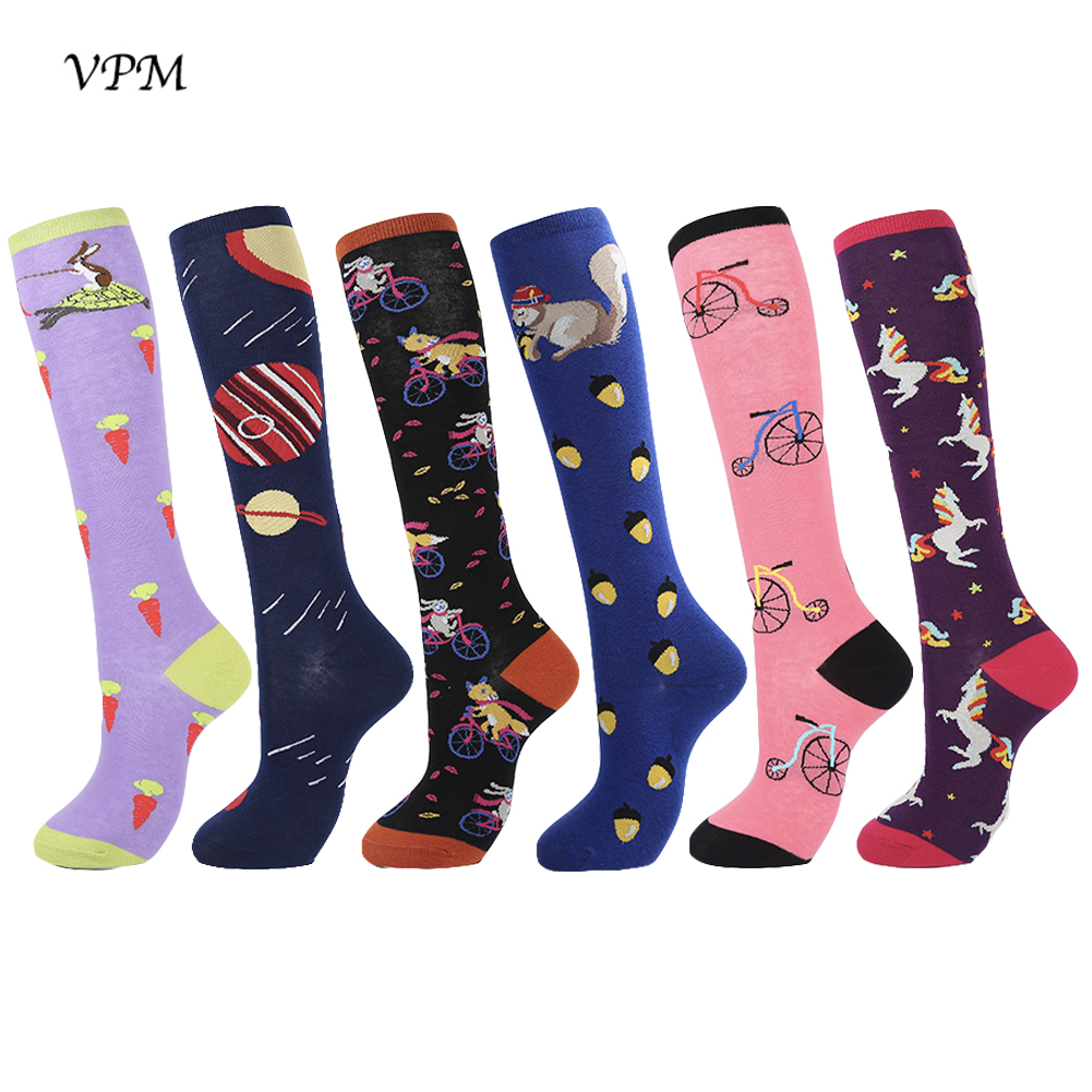 VPM Cotton Knee High Women's Long Socks Colorful Harajuku Funny Cute Kawaii Cartoon Fox Unicorn Planet Squirrel Sock For Gift