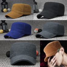 2fa6ad3ea81 Men Women Classic Plain Hat Adjustable Military Army Style Cap Flat Top  Winter(China)