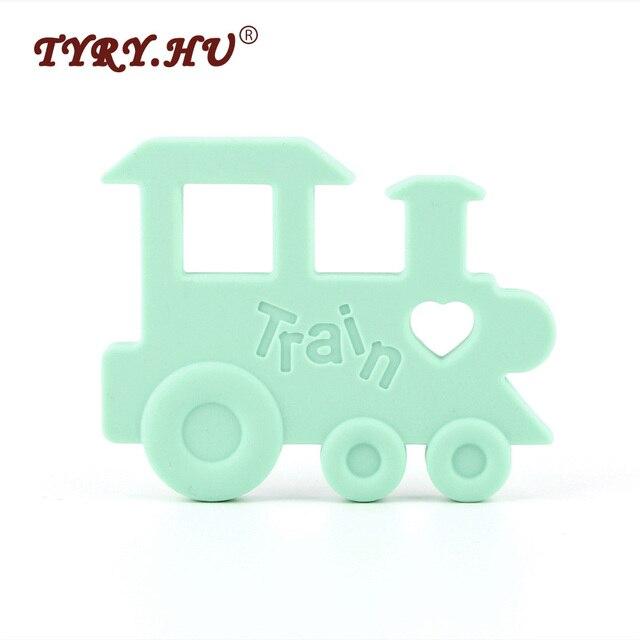TYRY. HU 1 pcs Trem Brinquedos de Dentição Do Bebê Mordedor de Silicone Infantil Mastigáveis Pingente Contas Chupeta Mordedor Bpa Seguro Para O Bebê cuidados