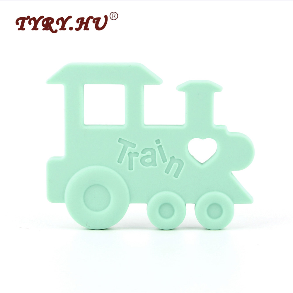 TYRY.HU 1Pcs Train Baby Teether Silicone Teething Toys Infant Chewable Pendant Soother Teether BPA Free Safe Beads For Baby Care