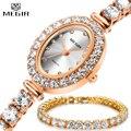 MEGIR Luxe Vrouwen Rose Gouden Armband Horloge Set Mode-sieraden AAA Zirconia Tennis Crystal Quartz Horloges Dames