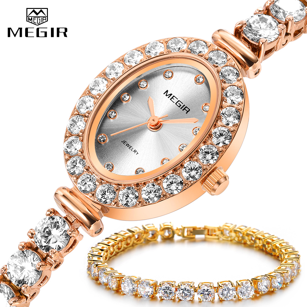 MEGIR luxe femmes or Rose Bracelet montre ensemble de mode bijoux AAA cubique zircone Tennis cristal Quartz montres dames