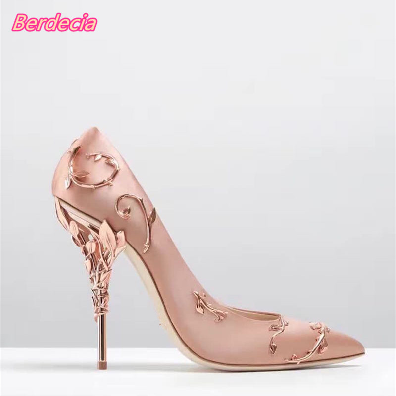 Shallow Slip-on Metal Flower Women Pumps Pointed Toe Cut Out Leaves Heels Shoes Sexy Thin High Heels Women Wedding Party Pumps