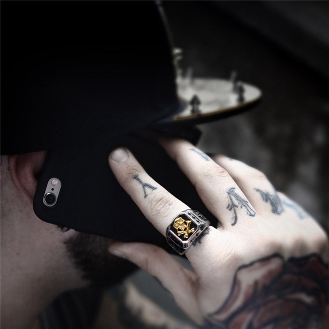 Men Stainless Steel Ring Vintage Hip Hop Skull Rings For Men Steampunk Jewelry Accessories 2019 Gothic Punk Rings Drop Shipping 2