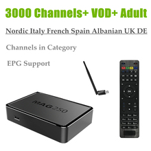 Beste MAG250 Europa IPTV USB WiFi 3000 Live + 20,000 VOD Franse Albanese DE UK Italië Volwassen HotClub Linux OS MAG 250 Italië IPTV(China)