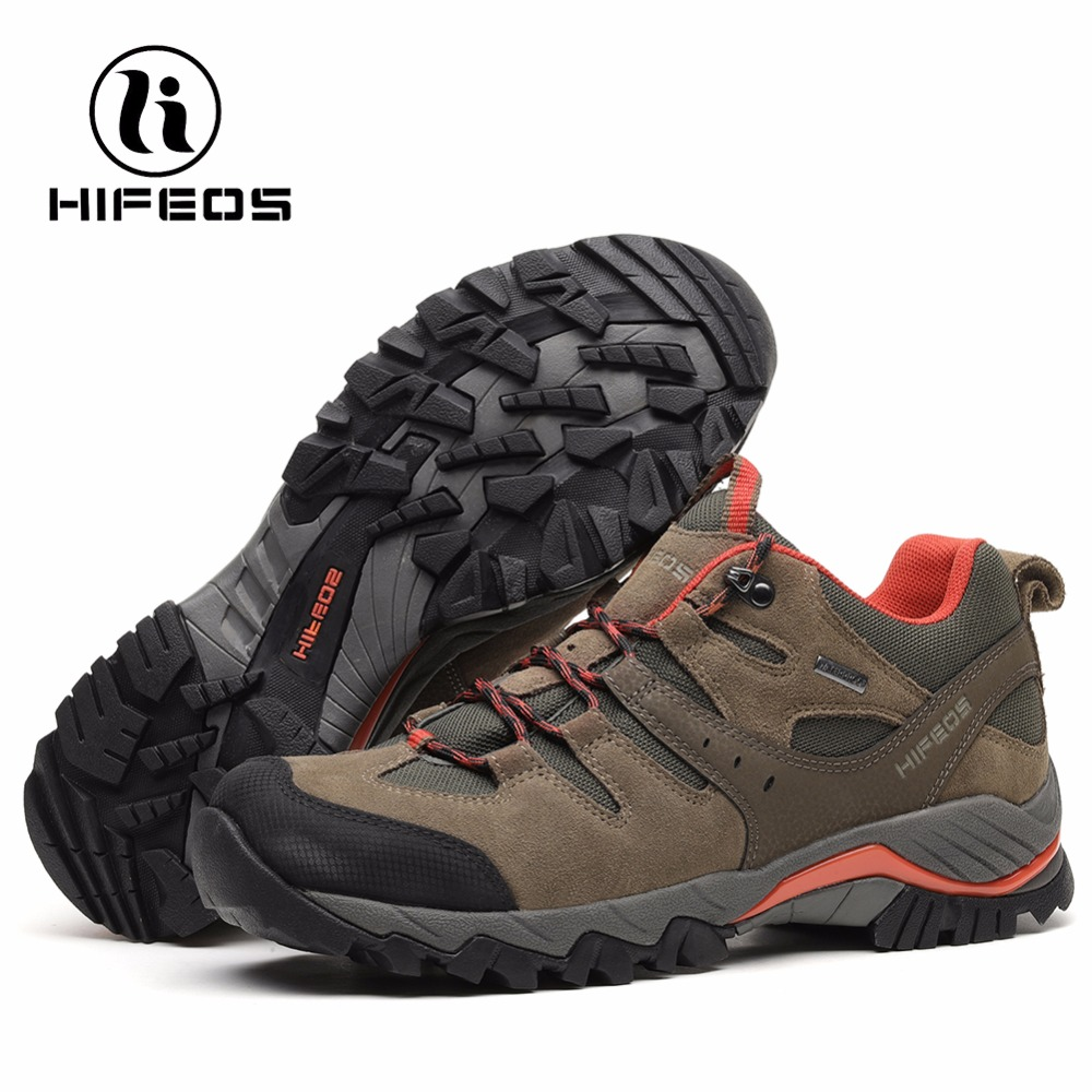 HIFEOS Men Sneakers Tactical Hiking Shoe Sports Cow Anti-Fur Rubber Breathable Mountain Camping Boots Outdoor for Climbing merrto men s outdoor cowhide hiking shoe multi fundtion waterproof anti skid walking sneakers wear resistance sport camping shoe