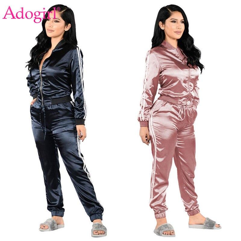 Adogirl Side Stripe Women Tracksuit Zipper Long Sleeve Jacket + Sweatpants Female Sporting Suit Clearance Sale Two Piece Set