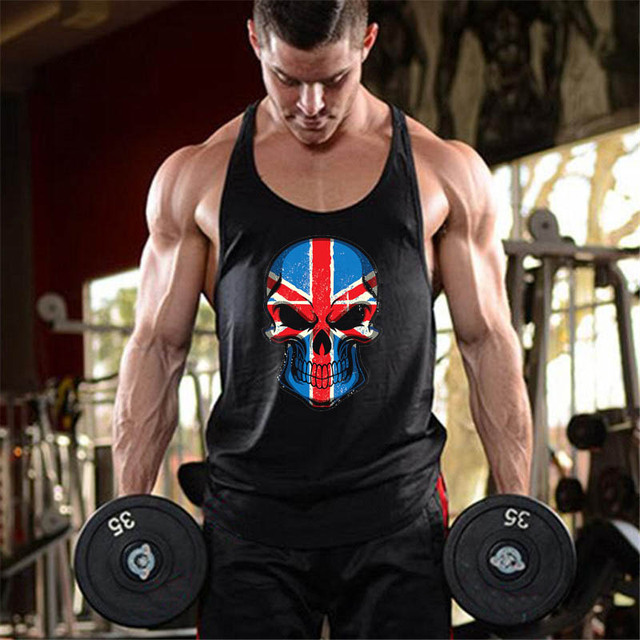 bc9645d56facc Punisher gyms clothing men muscle guys stringer tank top bodybuilding  canottiere vest Skulls printed workout undershirt