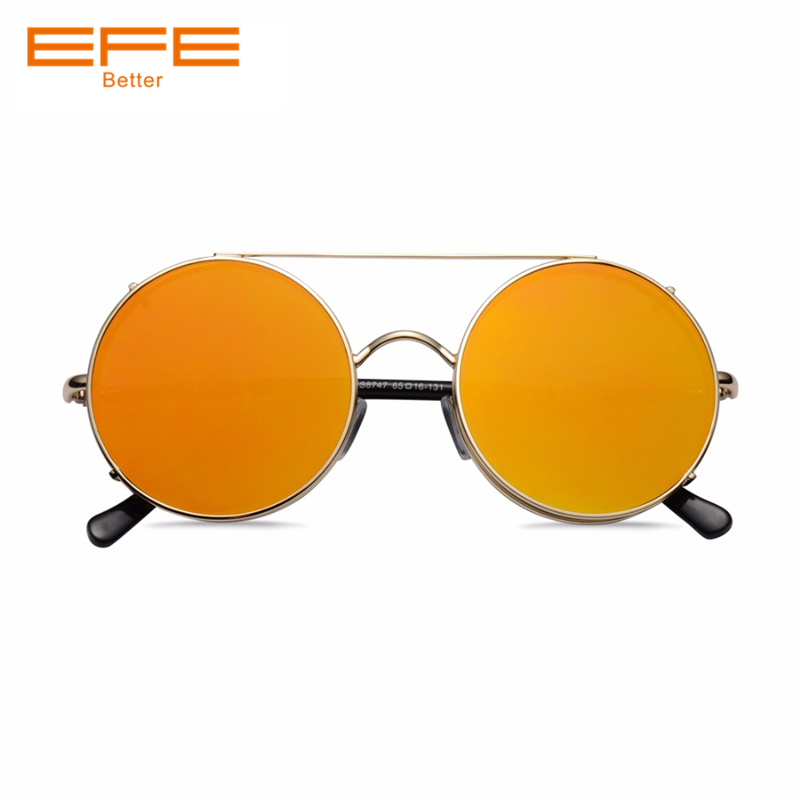 e5ebc47e392 EFE Sunglasses For Women Vintage Metal Round Shaped Mirror Coating Lens Men  Driving UV400 Oculos De Sol Female Glasses KS8747 -in Sunglasses from  Apparel ...