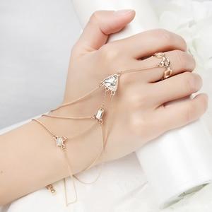 ORNAPEADIA 2017 New Fashion Hand Palm Bracelet Connected Finger charm free Design bohemia Fashion Slave Bracelet for Women gift