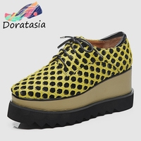 DORATASIA New Arrival Polka Dot Sneakers Women 2019 Spring Genuine Leather Suede Girl High Platform Shoes Woman Large Size 33 40