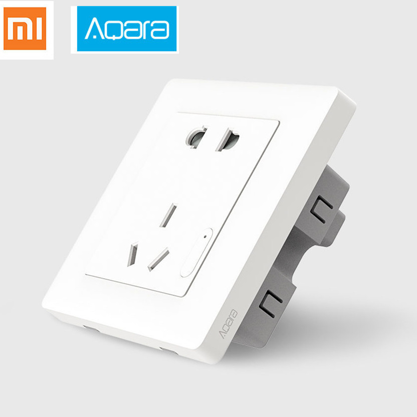 цена 2017 New,Original xiaomi Aqara Smart wall Socket,ZigBee wifi Remotel Control Wireless Switch Work for Xiaomi Smart home kits APP