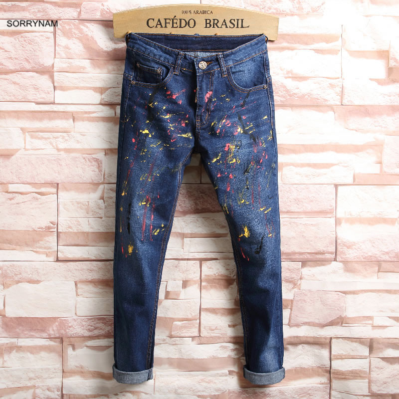 Sorrynam 2017 Time limited Rushed Mid Street Summer For Graffiti Personalized Broken Pants Male Jeans Hip
