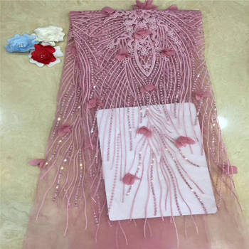 High Quality Nigerian 3D Wedding Lace Fabric Latest African Laces 2019 French Net Lace Fabric With beads for Dress JL2865