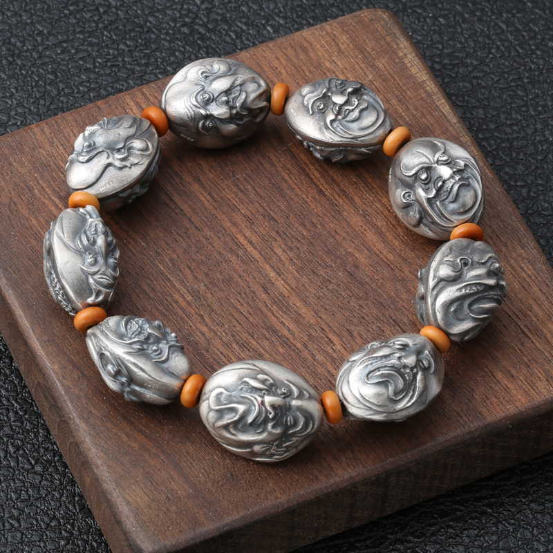 100% Real S999 Sterling Silver Buddha Bead Bracelet for Women Men Friendship Charm Bracelet Ethnic Bangle Fashion Jewelry Gifts