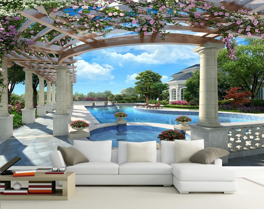 Wohnzimmer bilder fr hintergrund  Luxus Villa 3D Pool Hintergrund 3d wandbilder wallpaper für ...
