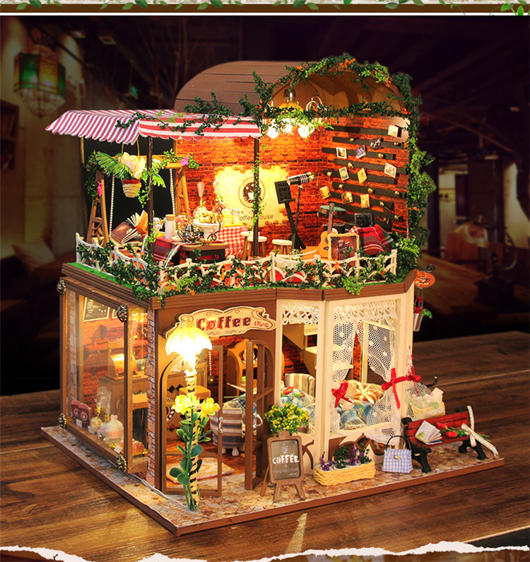 Diy Doll House Toys Miniature Wooden Villa Building Model