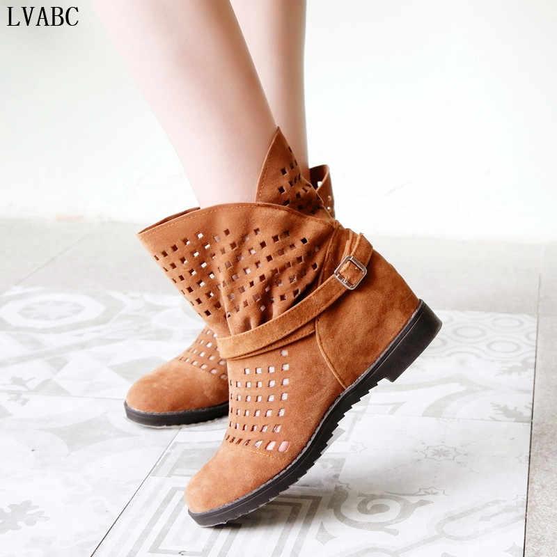 2018 nuevas botas de verano de las mujeres planas bajas cuñas ocultas recorte alcance las botas de la pierna inferior señoras vestido zapatos Casuales venta caliente lindo