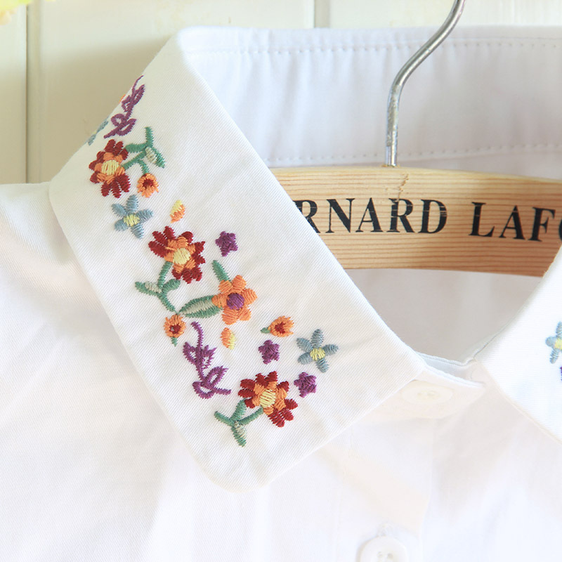 Floral Embroidery Vintage Shirt Female Detachable Fake Collar Sweet Kawaii Faux Col Shirt Dames Winter Thicken Keep Warm Croptop