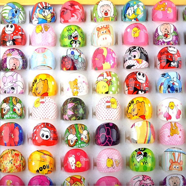 10PCS/Set Mixed Size Colorful Rings Fashion Cartoon Character Resin Children Rin