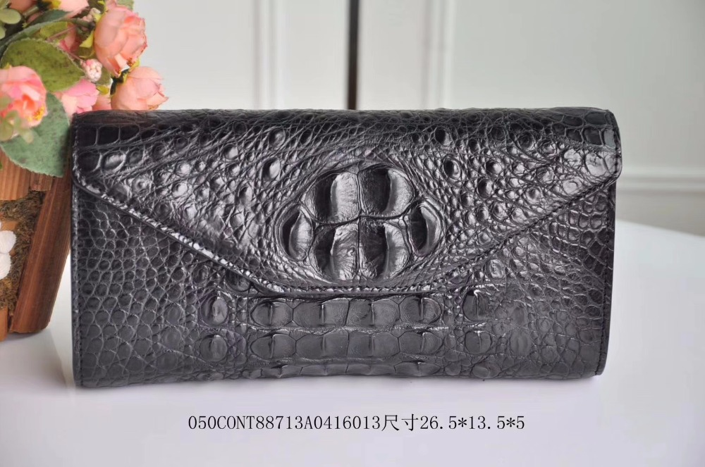 2018 100% genuine crocodile leather head part skin long size women wallet envelope clutch evening clutch wallet free shipping
