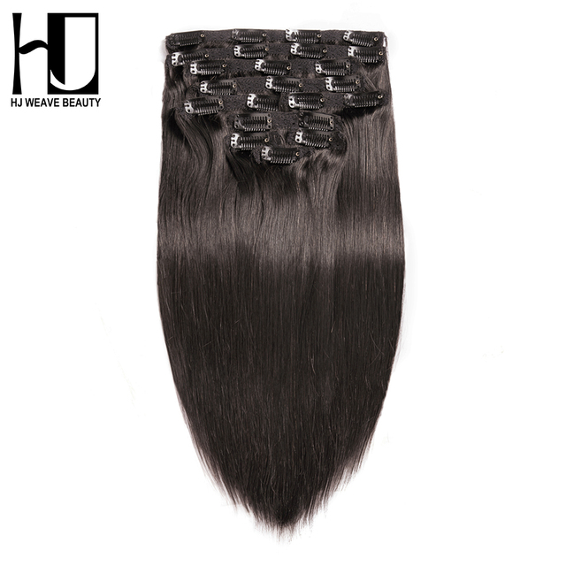 7a Hj Weave Beauty Clip In Human Hair Extensions Straight Natural
