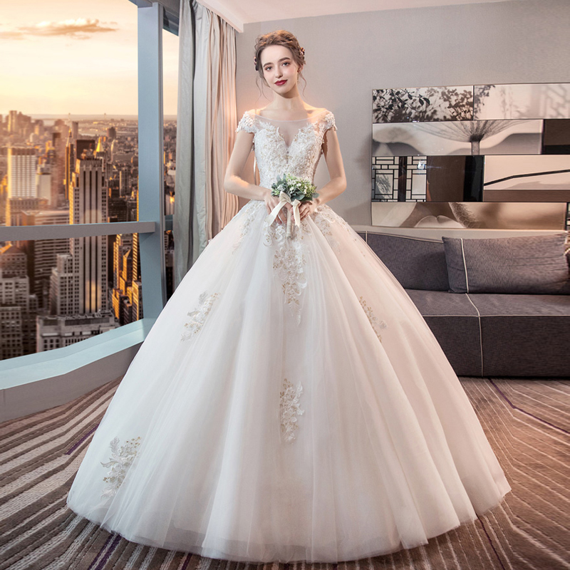 Boat Neck wedding dress 2019 new bride dress Korean European American court princess Slim and simple