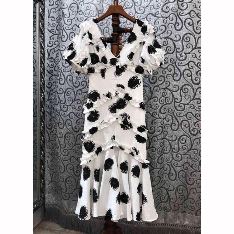 European Style Polka Pot Ruffles V-neck Dress Women's Summer Short Sleeve 2019 Sexy Slim Bodycon Dress