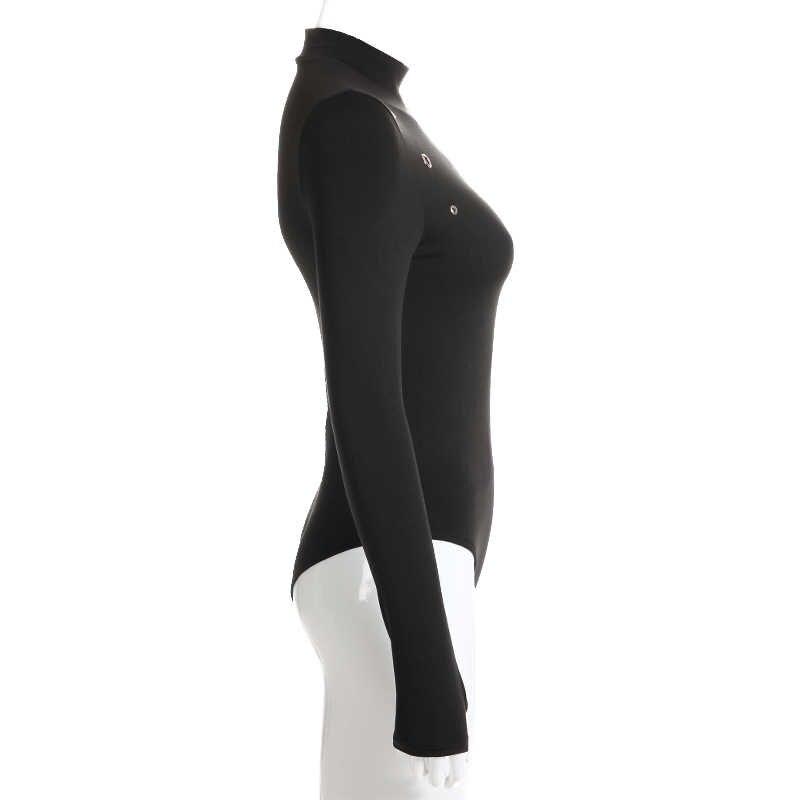 Свитшот черный облегающий костюм осень водолазка с длинным рукавом боди для женщин повседневный выдалбливают Облегающий комбинезон короткий комбинезон